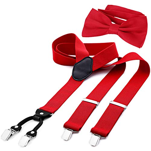 "DonDon Men's 1,38"" wide Y style elastic and adjustable braces suspenders as a 2-piece set with matching colour bowtie 4.72 x 2.36"" - Red from DonDon"
