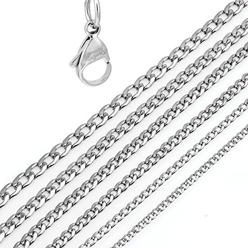 "DonDon Men's Curb Chain Necklace Silver Stainless Steel Length 56 cm 22,1"" Width 0,7 cm 0,28"" from DonDon"