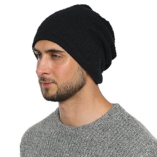 DonDon Men's Jersey Classic Slouch Beanie for wear all year round breathable soft - Black from DonDon