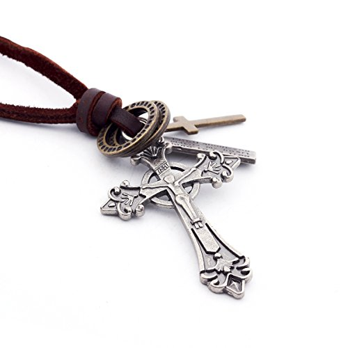 DonDon Men's Leather Necklace with Various Pendants in a Black Bag Cross from DonDon