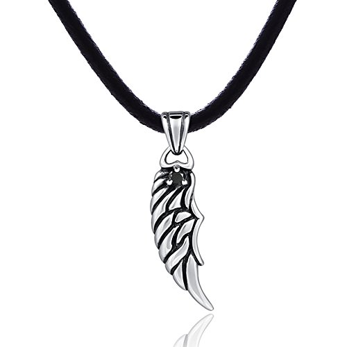 "DonDon Mens Leather Necklace 19.7"" 50 cm with Stainless Steel Pendant Wing Lucky Charm from DonDon"