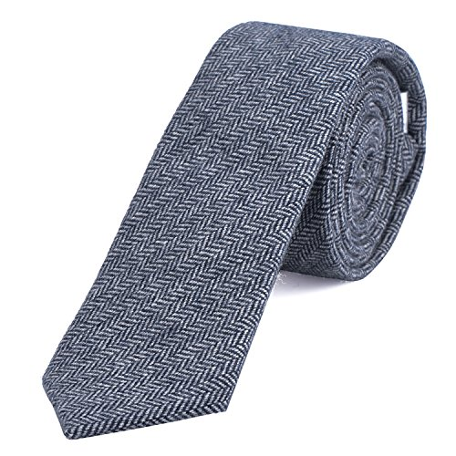 DonDon Narrow Men's Cotton Tie 2.36 inch 6 cm - white blue herringbone pattern from DonDon