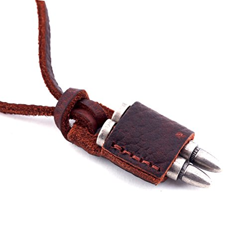 DonDon Men's Leather Necklace with Various Pendants in a Black Bag Cartridges from DonDon