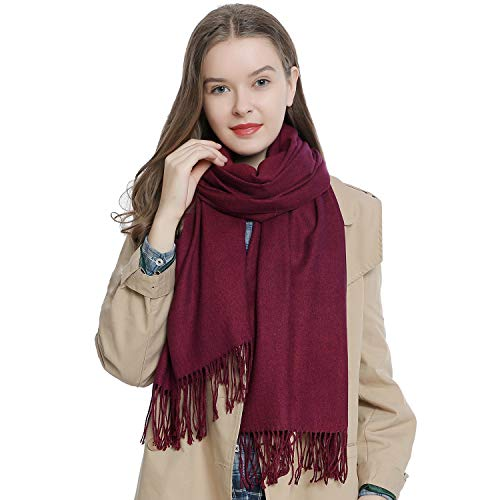 "Large women's winter scarf 72.8 x 25.6"" - 185 x 65 cm soft and warm in unicolor - berry from DonDon"