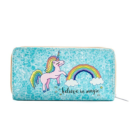 DonDon Women's Purse Wallet Unicorn Pattern Saying Believe in Magic from DonDon