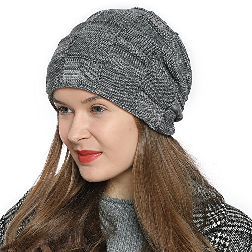 DonDon Women's Warm Winter Beanie Slouch Tube Design Modern Knitted Beanie with Extra Soft Inner Lining - Grey White from DonDon