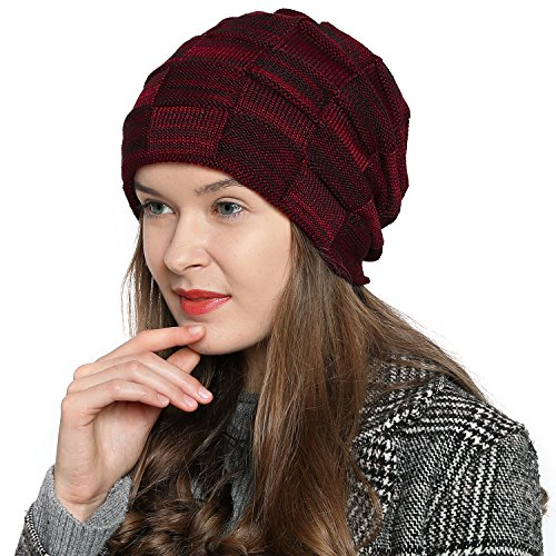 DonDon Women's Warm Winter Beanie Slouch Tube Design Modern Knitted Beanie with Extra Soft Inner Lining - Dark red Black from DonDon