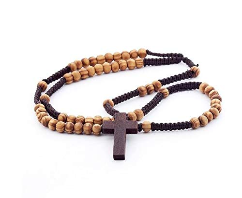 DonDon Wooden Rosary with Light Brown Beads and Dark Brown Cross from DonDon