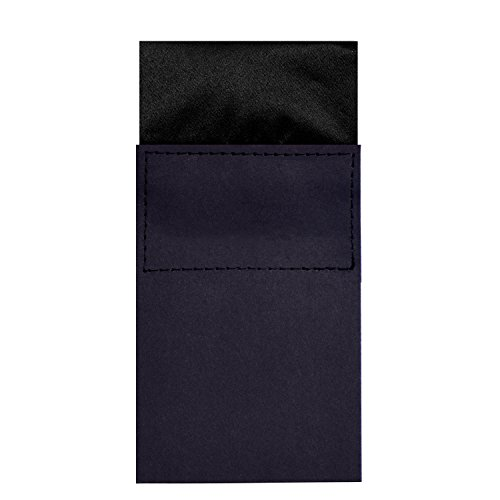 DonDon men's breast pocket handkerchief pre-folded square with cardboard adjustable black from DonDon