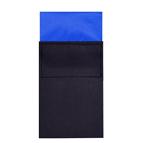 DonDon men's breast pocket handkerchief pre-folded square with cardboard adjustable blue from DonDon