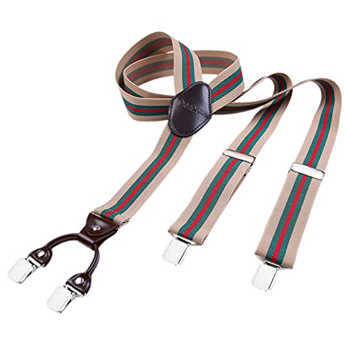 "DonDon men suspenders 3,5 cm 1,38"" wide 4 clips with brown leather in Y-form elastic and length adjustable beige striped from DonDon"