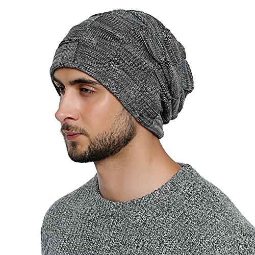 DonDon Mens Warm Winter Beanie Slouch Tube Design Modern Knitted Beanie with Extra Soft Inner Lining - Grey White from DonDon