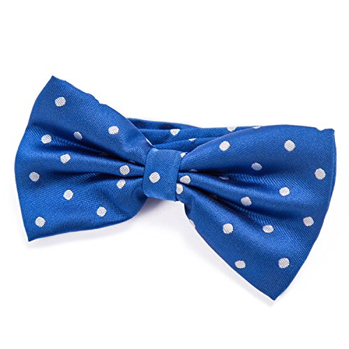 DonDon mens bow tie Polka Dots pre-tied handmade and adjustable blue from DonDon