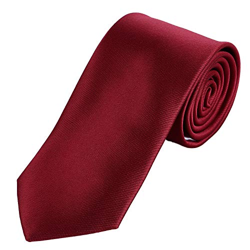 DonDon tie for men 7 cm classical handmade business tie dark red for the office or for festive events from DonDon