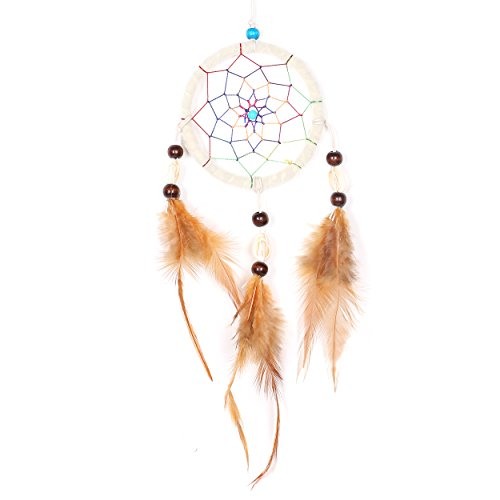 "Dreamcatcher for Good Dreams with Pearls and Real Feathers White Nature Ø 3.54"" from DonDon"