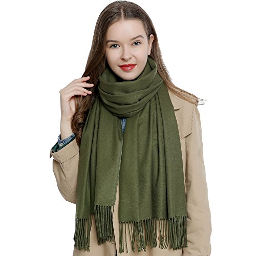 "Large women's winter scarf 72.8 x 25.6"" - 185 x 65 cm soft and warm in unicolor - dark green from DonDon"
