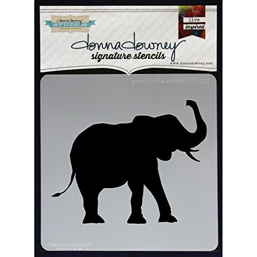Donna Downey Stencils Plastic Signature 8.5-inch x 8.5-inch, Good Luck Elephant from Donna Downey Stencils