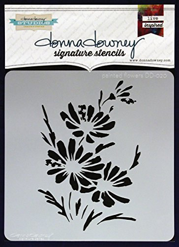 Donna Downey Stencils Plastic Signature 8.5-inch x 8.5-inch, Painted Flowers from Donna Downey Stencils