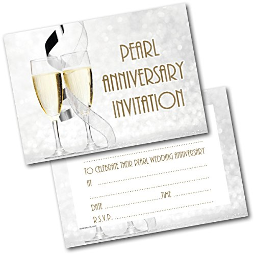 Doodlecards Pearl Anniversary Champagne Glasses Invitations Invites Pack of 20 Postcards and Envelopes from Doodlecards