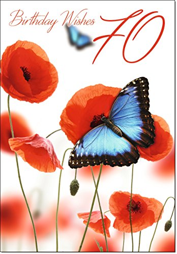 Doodlecards 70th Birthday Card Age 70 Butterfly and Poppies - Medium from Doodlecards