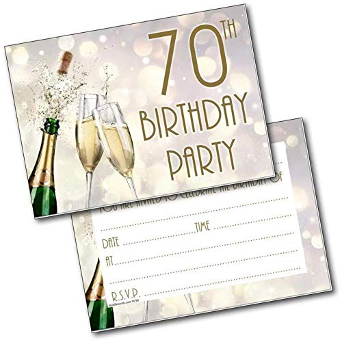 Doodlecards 70Th Birthday Party Invitations Age 70 Male Mens Female Womens Pack 20 Invites from Doodlecards