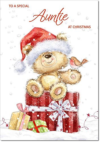 Doodlecards Auntie Christmas Card Cute Bear with Parcels - Medium Size from Doodlecards