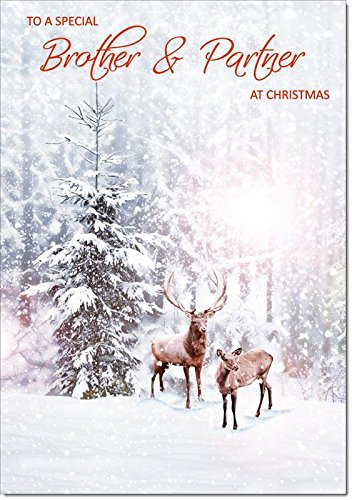 Doodlecards Brother & Partner Christmas Card Deer in Snow Forest - Medium Size from Doodlecards