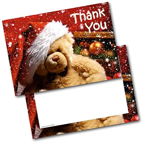Doodlecards Christmas Thank You Cards Thankyou Postcards Teddy Pack of 20 Cards & Envelopes from Doodlecards