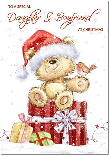 Doodlecards Daughter & Boyfriend Christmas Card Cute Bear with Parcels - Medium Size from Doodlecards