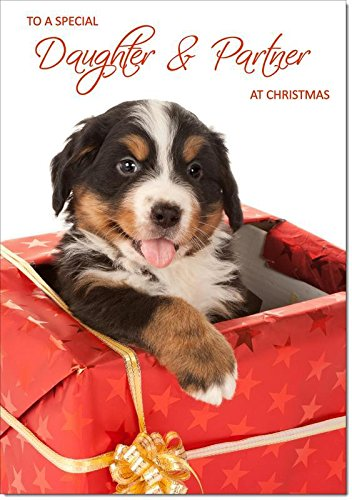 Doodlecards Daughter & Partner Christmas Card Puppy in Parcel - Medium Size from Doodlecards