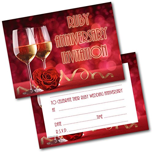 Doodlecards Ruby Anniversary Wine Glasses Invitations Invites Pack of 20 Postcards and Envelopes from Doodlecards
