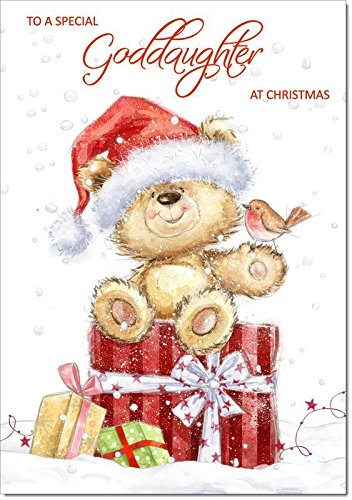 Doodlecards Goddaughter Christmas Card Cute Bear with Parcels - Medium Size from Doodlecards