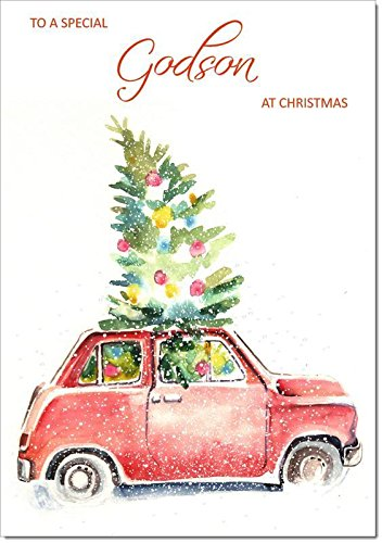 Doodlecards Godson Christmas Card Christmas Tree in Car - Medium Size from Doodlecards
