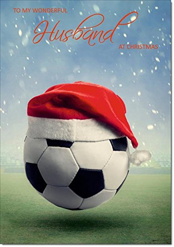 Doodlecards Husband Christmas Card Football with Santa Hat - Medium Size from Doodlecards