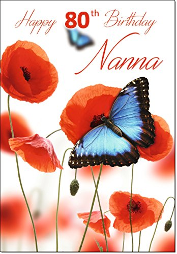 Doodlecards 80th Nanna Age 80 Birthday Card Butterfly and Poppies - Medium from Doodlecards