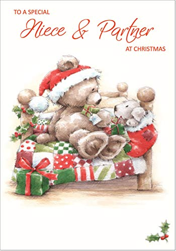 Doodlecards Niece & Partner Cute Christmas Card - Medium Size from Doodlecards