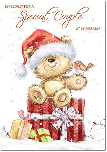 Doodlecards to Special Couple Christmas Card Cute Bear with Parcels - Medium Size from Doodlecards