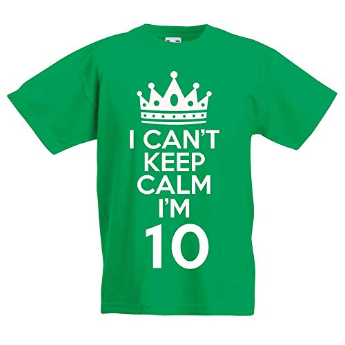 I Can't Keep Calm I'm 10 - Gift T-Shirt For 10 Year Old Boys & Girls (Green) from Doodleman