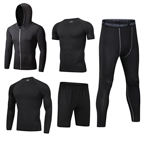 Dooxi Mens 5pcs Sports Gym Fitness Clothing Set Hoodies Jackets+Long Sleeve+Short Sleeve Base Layers T Shirts+Loose Fitting Shorts+Compression Pants for Workout Training Running Tracksuits M from Dooxi