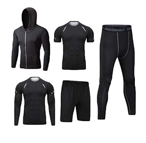 Dooxi Mens 5pcs Sports Gym Fitness Clothing Set Hoodies Jackets+Long Sleeve+Short Sleeve Base Layers T Shirts+Loose Fitting Shorts+Compression Pants for Workout Training Running Tracksuits S from Dooxi