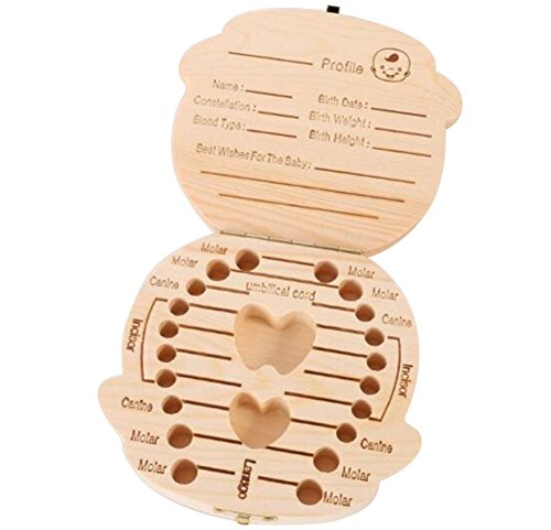 Dosige Baby Teeth Box Wooden Handmade Tooth Storage Boxes Milk Teeth Save Organizer from Dosige
