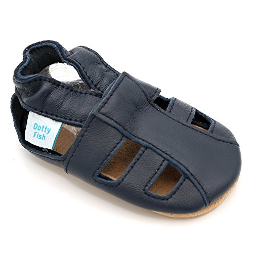 Dotty Fish Soft Leather Baby Shoes With Suede Soles Toddler Sandals Boys   Girls