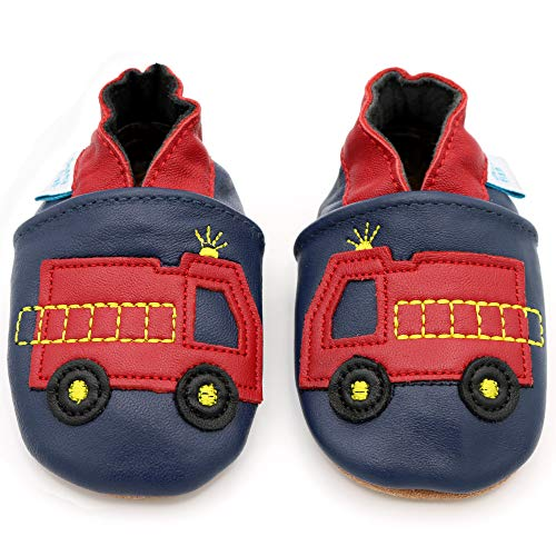 65ff9e44997 Dotty Fish Soft Leather Baby Shoes with Non Slip Suede Soles. Toddler  Shoes. Navy