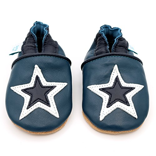 791d7635d4117 Dotty Fish Soft Leather Baby Shoes with Non Slip Suede Soles. Toddler Shoes.  Navy