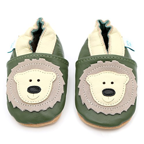Dotty Fish Soft Leather Baby Shoes. Toddler Shoes. Boys and Girls. Non Slip. Olive Green Shoe with Cream Bear Design. 6-12 Months (3 UK Child) from Dotty Fish