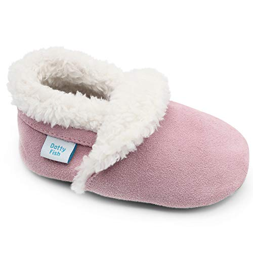 Dotty Fish Suede Baby Slippers. Toddler Slippers/Shoes. Warm Fleece Lined. Soft Pink. Non-Slip Soft Sole. 12-18 Months. Girls from Dotty Fish