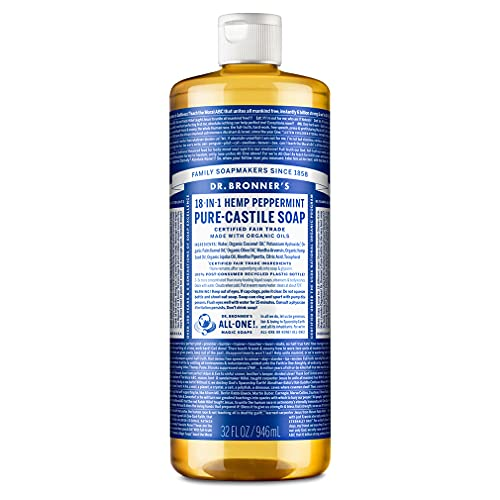Dr. Bronner's Magic Soaps Pure-Castile Soap, 18-in-1 Hemp Peppermint, 32-Ounce Bottle from Dr. Bronner's