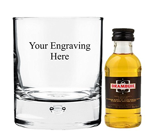 Personalised Engraved 10 oz Bubble in base glass, with 50ml Drambuie in Silk Lined Gift box from Drambuie