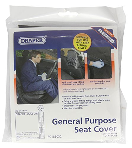 Draper Tools SC-02 Side Airbag Compatible Polyester Front Seat Cover from Draper