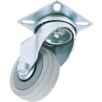 Draper 50mm Dia. Swivel Plate Fixing Rubber Castor - S.w.l 50kg from Draper